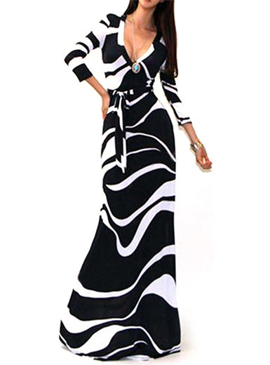 IAmShe Marble Print Maxi Dress - Low V Neckline and Self Tie Waist