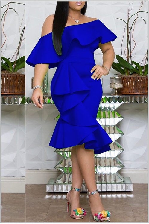 IAmShe Blue One Shoulder Ruffle Knee Length Dress