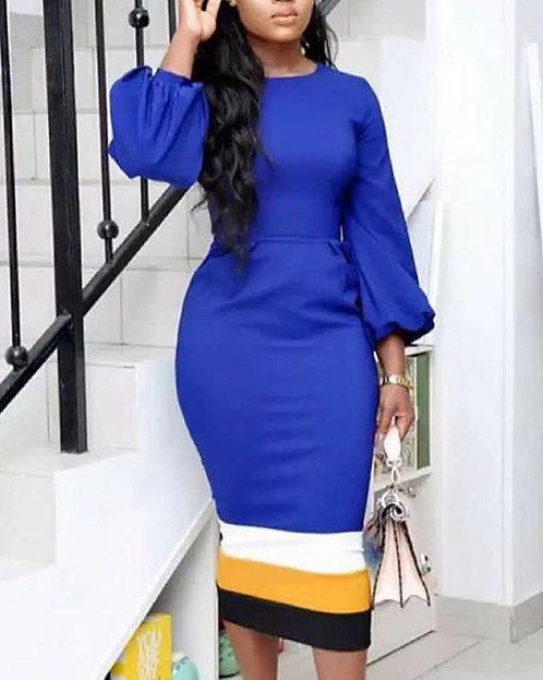 IAmShe Blue Color Block Insert Hem Lantern Sleeve Dress