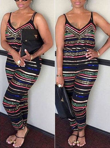IAmShe Stripped Jumpsuit with Shoulder Straps