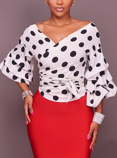 IAmShe Women's Off Shoulder Peplum Blouse - Polka Dot