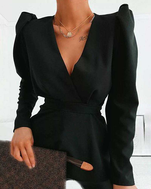 IAmShe Black Solid Puff Sleeved Blouse