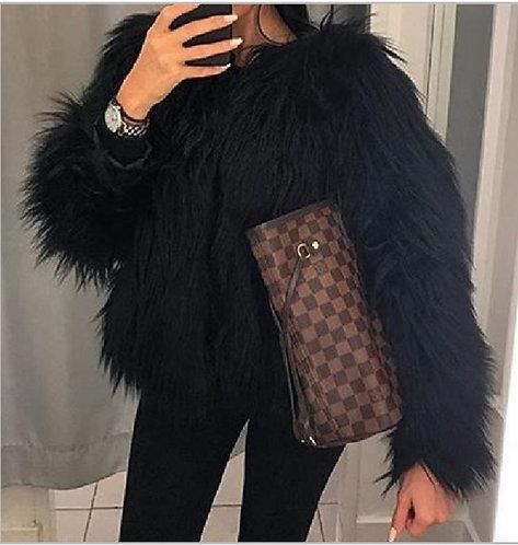 PREORDER ONLY IAmShe Black Faux Fur Coat
