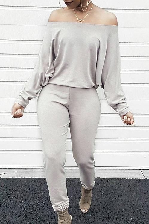 IAmShe Casual Dew Shoulder Blending Grey 1pc Jumper
