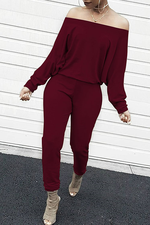 IAmShe Casual Dew Shoulder Blending Wine Red One-piece Jumpsuit