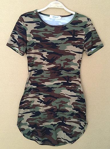 IAmShe Mini Dress - Camouflage Browns and Greens  Round Hemline  Side Slit