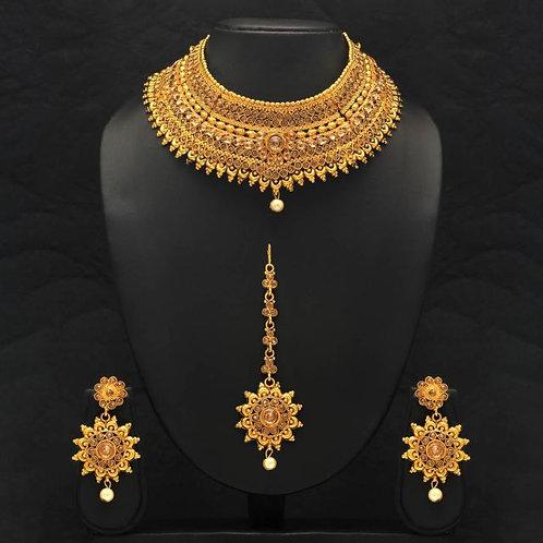 IAmShe Gold & Pearl Necklace & Earrings & Maang Tikka