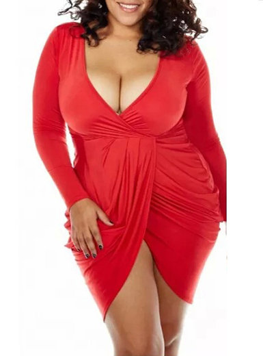 IAmShe Deep V Neck Ruched Long Sleeve Dress