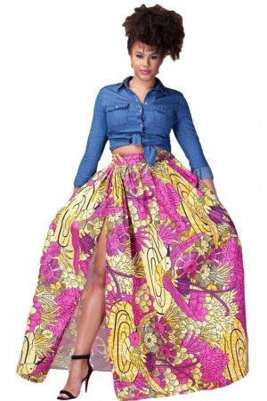 IAmShe Floral Printed High Split Maxi Skirt