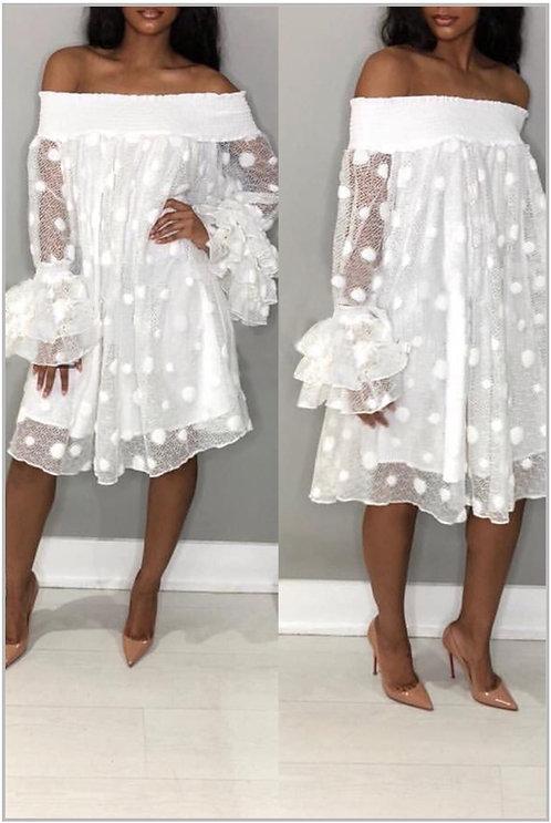 IAmShe White Off Shoulder Horn Sleeve Dress