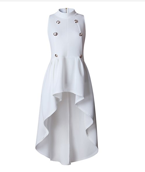 IAmShe Round Neck Sleeveless Asymmetrical White Cotton Blends Top