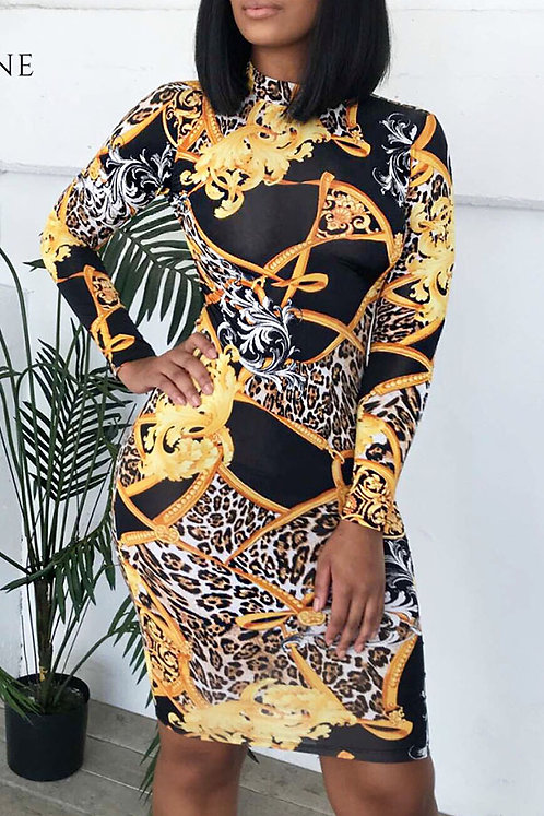 IAmShe African Floral Printed Multicolor Twilled Satin Knee Length Dress