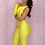 Thumbnail: IAmShe Neon Yellow One-sleeve Hollow out Playsuit