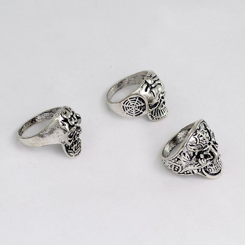 IAmShe Silver Oxidised Rings Skulls Collection