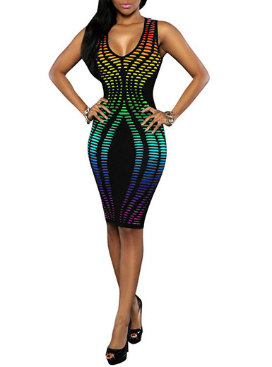 IAmShe Bodycon Dress - Vibrant Accents  Knee Length  Sleeveless  Striped