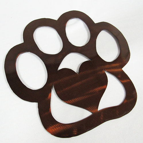 Paw Print Love Metal Wall Art