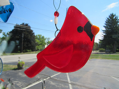 Cardinal Glass Suncatcher