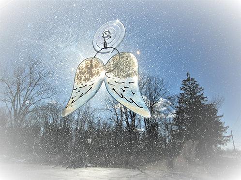 Angel Wings Glass Suncatcher