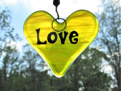 Love Heart Glass Suncatcher