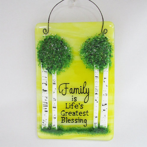 """Family Is Life's Greatest Blessing"" Glass Tile"