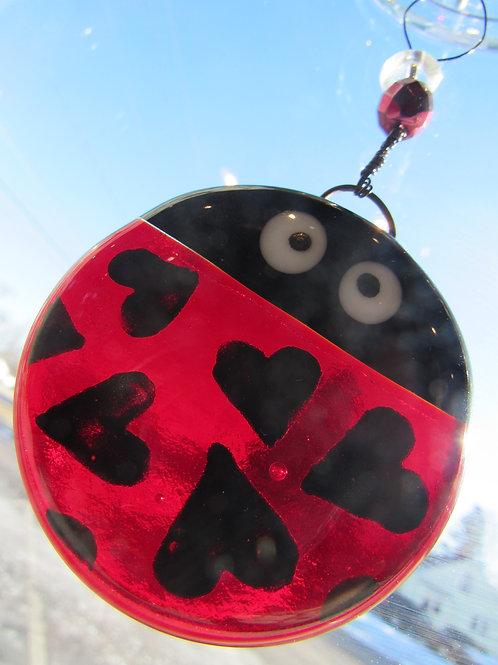 LadyBug Love Glass Suncatcher