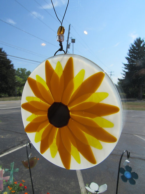 Sunflower Blossom Glass Suncatcher