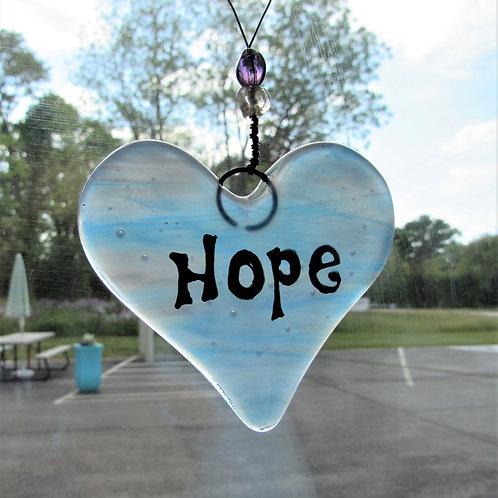 Hope Heart Glass Suncatcher