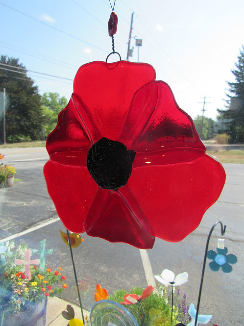 Poppy Flower Glass Suncatcher