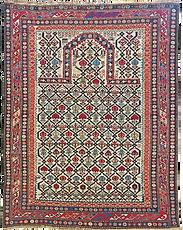 Shirvan Prayer Rug, 4-0 x 5-1, Ca 1850.p