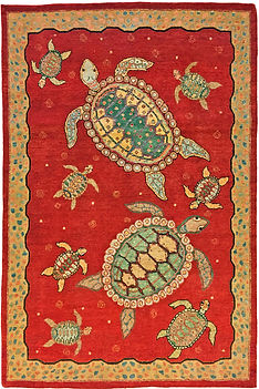 "A Sea Turtle Rug in size 4'1"" x 6'2"""
