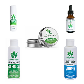 simply crafted cbd topicals collection.p