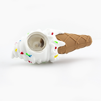 Silicone Ice Cream Cone w/Glass Bowl