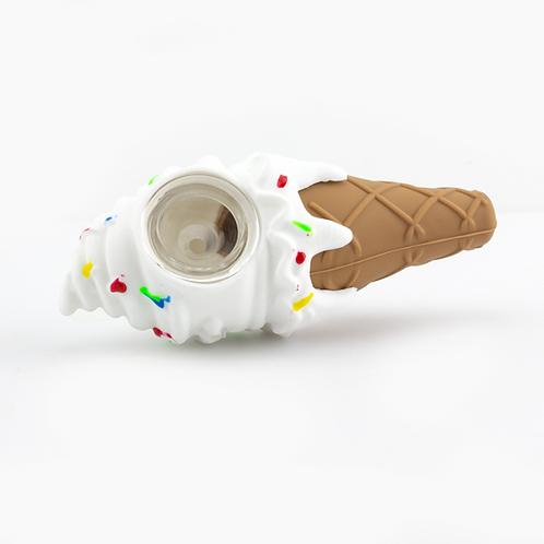 Silicone Ice Cream Cone w/Glass Bowl