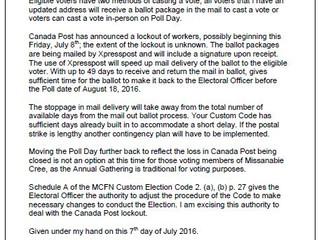 Notice from the Electoral Officer Regarding Postal Strike