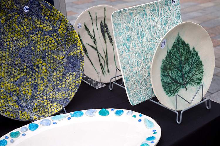 Mary Cole's first time selling her ceramics!