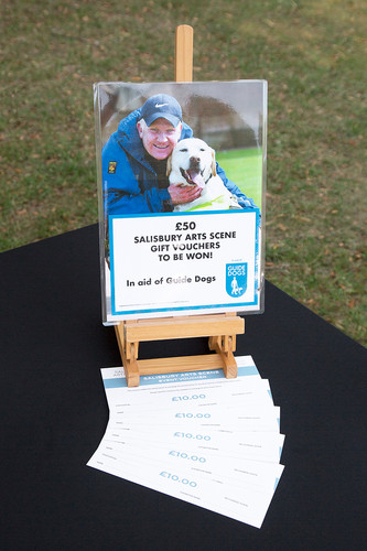 Salisbury Arts Scens's first raffle held for Guide Dogs.