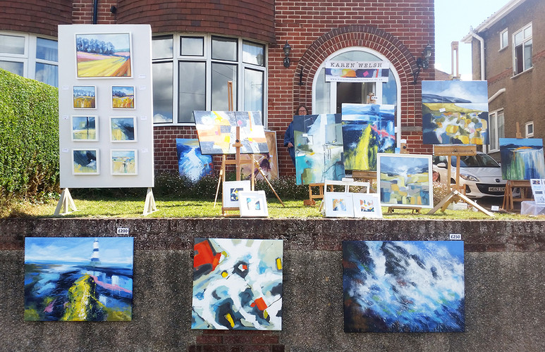 A wonderful, colourful art display by Karen Welsh!