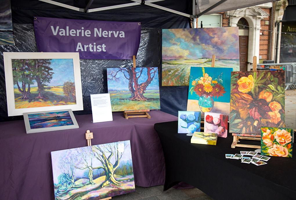 Valerie Nerva's vibrant art display.
