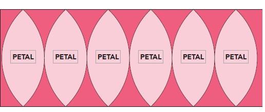 Fabric cutting diagram of convex pieces