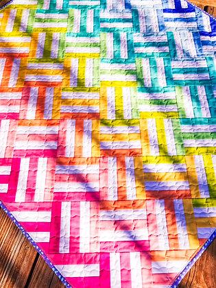 Rainbow Weave Baby Quilt