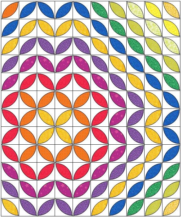 rainbow quilt petals