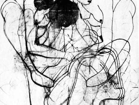 Monotypie_ abstrakte Frauen Egon Schiele
