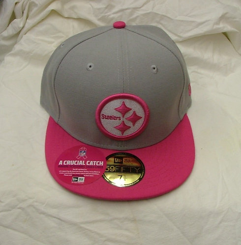 Pink and Grey Fitted Steelers Hat