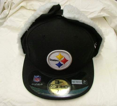 Black Fitted Steeler Hat with White Fur Ear Covers