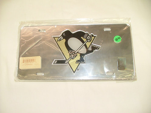 Penguins Silver License Plate