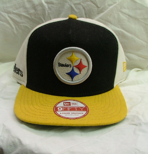 Black and Yellow Steelers A-Frame Snapback Hat