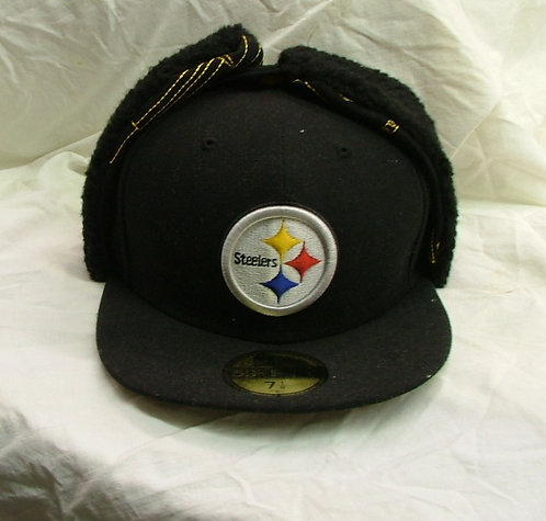 Black Fitted Steelers Hat with Black Fur Ear Cover