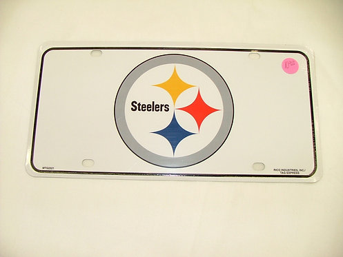 Steelers White License Plate