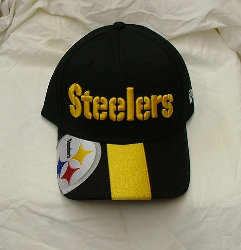Black with Yellow Stripe Steelers Fitted Hat