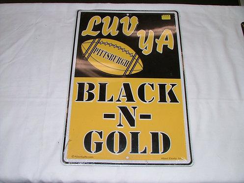 Luv Ya Black and Gold Sign